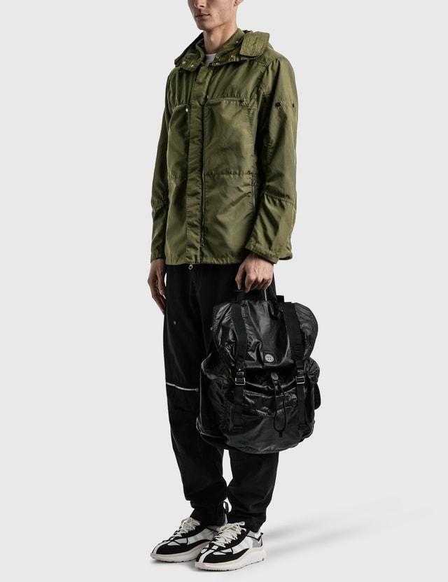 Stone Island Mussola Gommata Canvas Print Backpack Black  Men