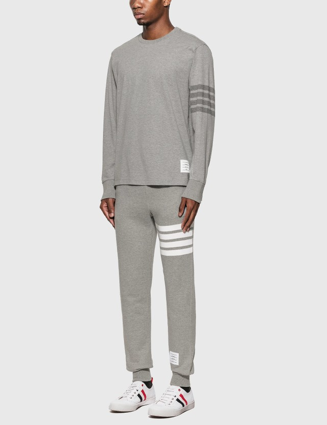 Thom Browne 4-Bar Rugby Long Sleeve T-Shirt Light Grey Men