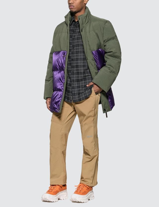 Acne Studios Contrast Panel Down Coat Khaki Green Men