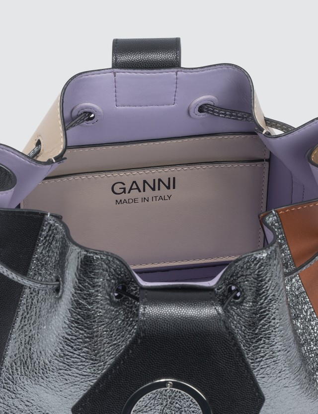 Ganni Leather Small Drawstring Bag
