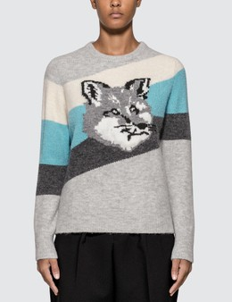 Maison Kitsune Fox Head Pullover With Diagonal Stripes