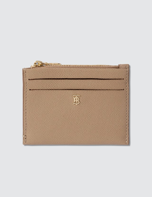 Burberry Monogram Motif Grainy Leather Zip Card Case