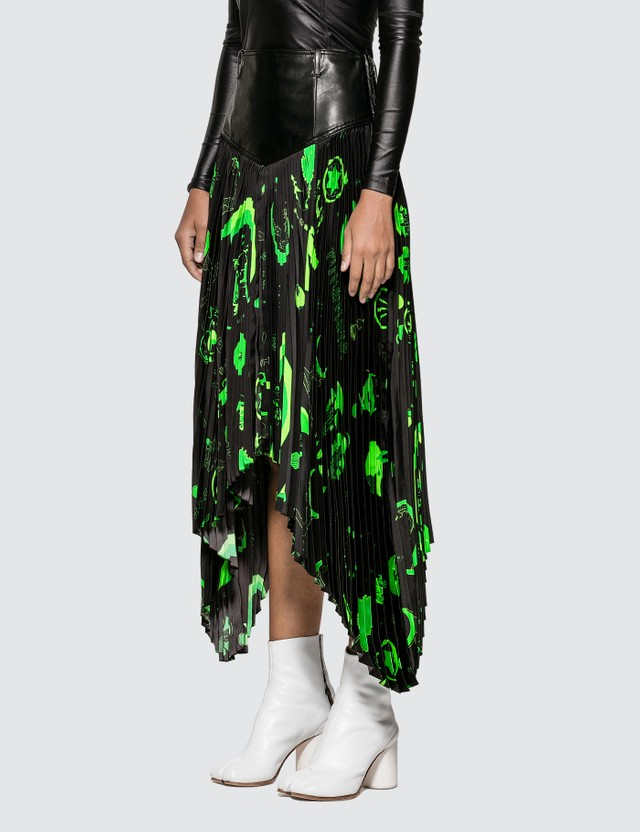 Marine Serre Graphic Print Pleated Skirt