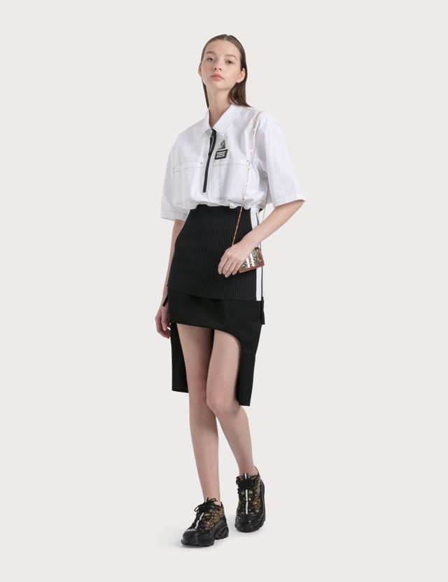 Burberry Short-sleeve Rib Knit Detail Cotton Oversized Shirt