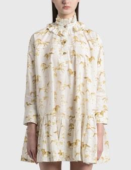 Ganni Printed Cotton Poplin Oversized Dress