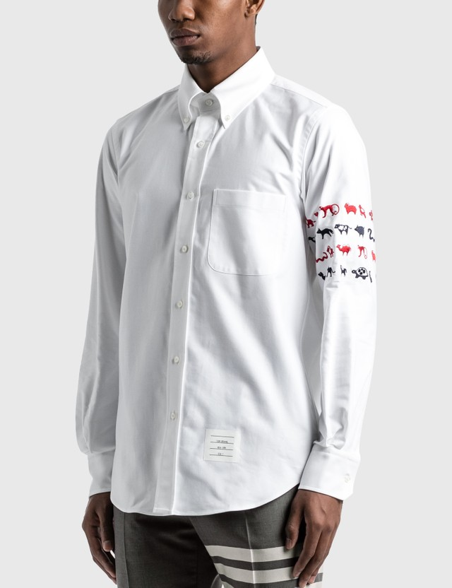 Thom Browne Animal Icon 4-Bar Shirt White Men