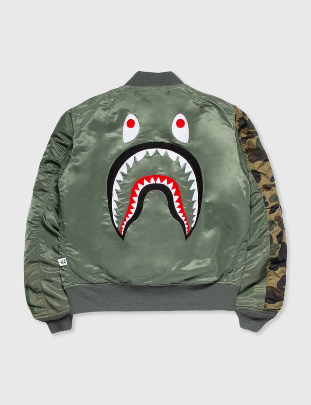BAPE Bape Shark Bomber Jacket Green Archives