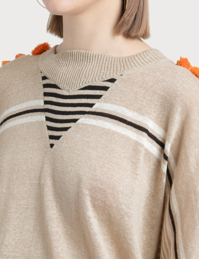 Loewe Pompons Sweater Beige/orange Women