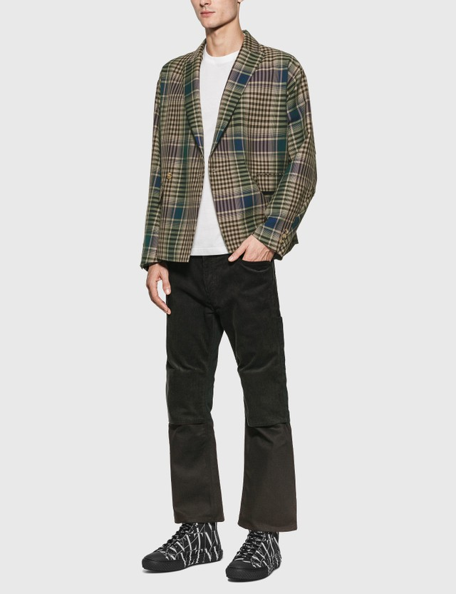 JieDa Check Double Tailored Jacket Beige Men