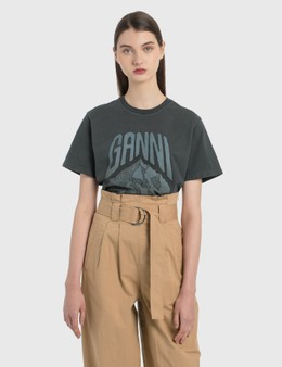 Ganni Mountain Printed Basic Cotton Jersey T-Shirt