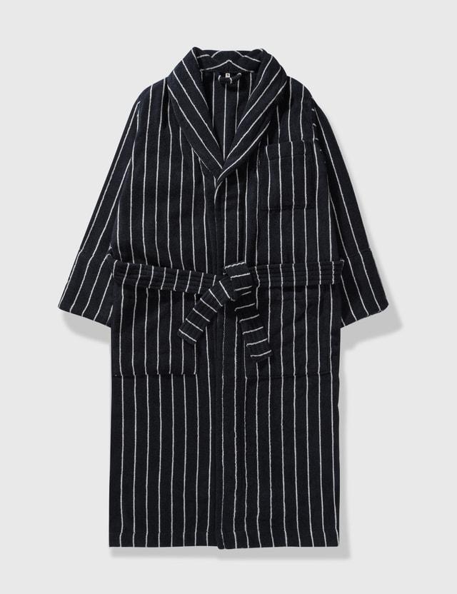 Tekla Organic Terry Classic Bathrobes Antwerp (black Stripes) Life