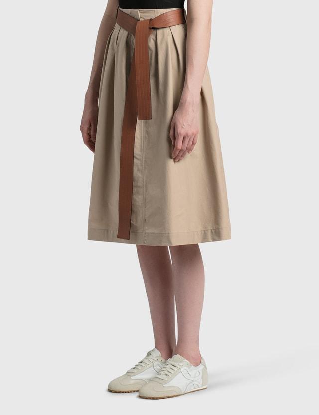 Loewe Leather Belt Skirt Beige Women