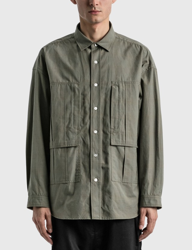Meanswhile Graph Line Overshirt Green Men