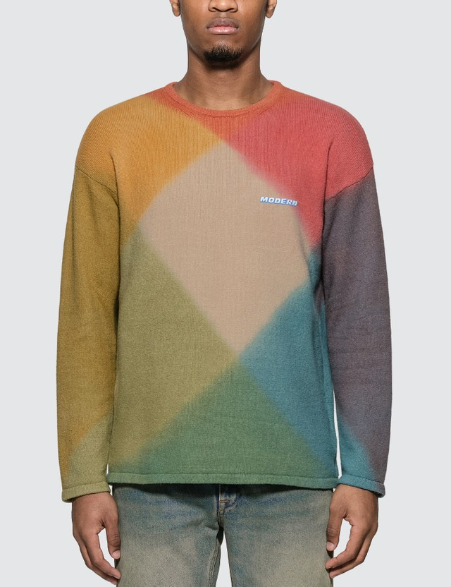 Off-White Tie Dye Crewneck Sweater Red Multic Men