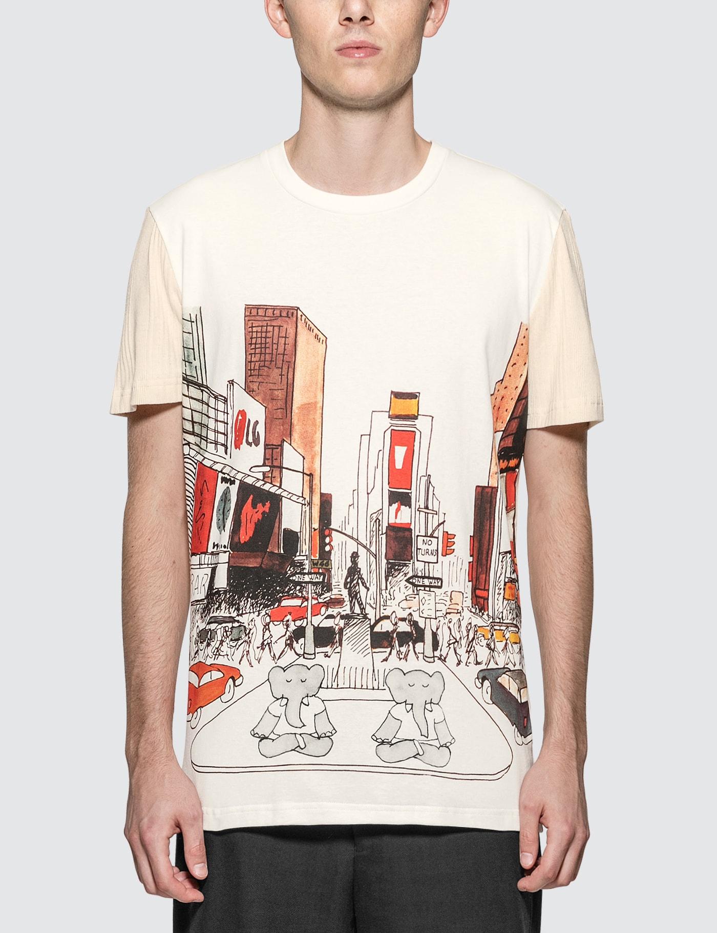 Fabric Mix Babar NY Print T-Shirt