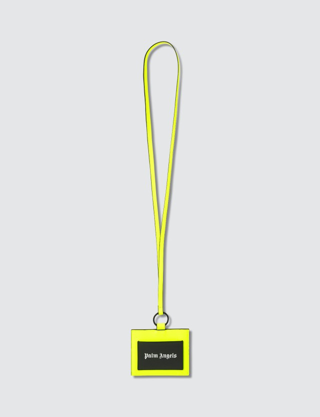 Palm Angels Iconic Neck Card Holder Fluo Yellow Silver Men