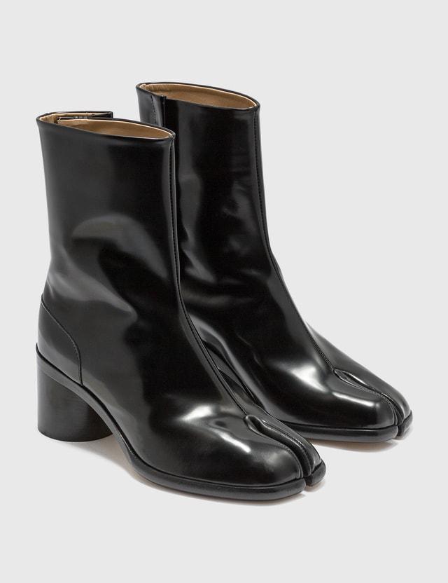 Maison Margiela Tabi Shiny Leather Boots Black Women