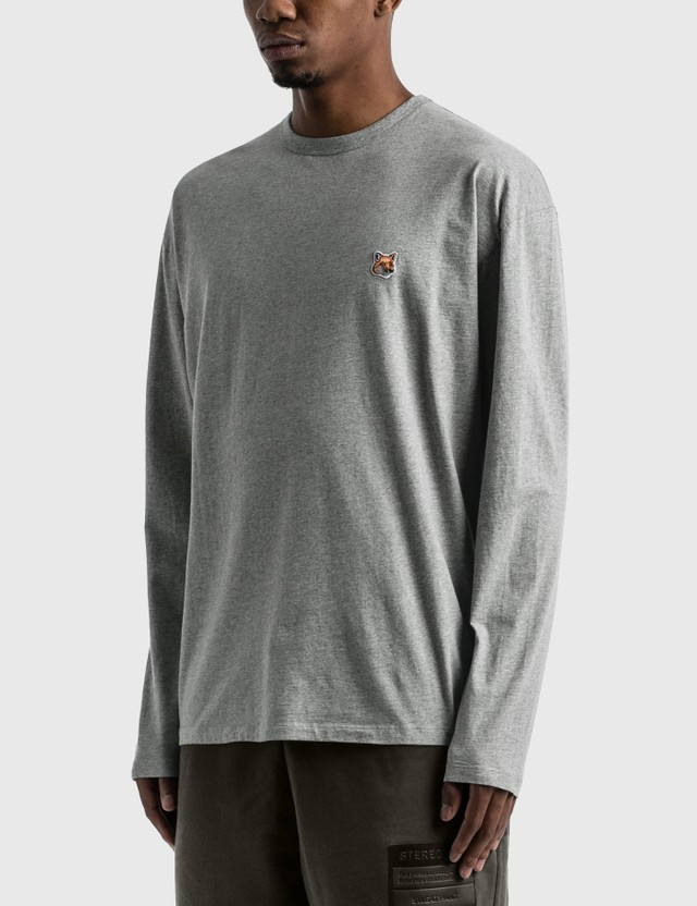 Maison Kitsune Fox Head Patch Long Sleeve T-shirt Grey Men
