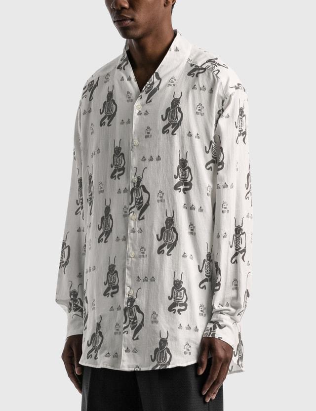 "Sasquatchfabrix. ""MAYOKE"" Wa-Neck Big Long Sleeve Shirt White Men"