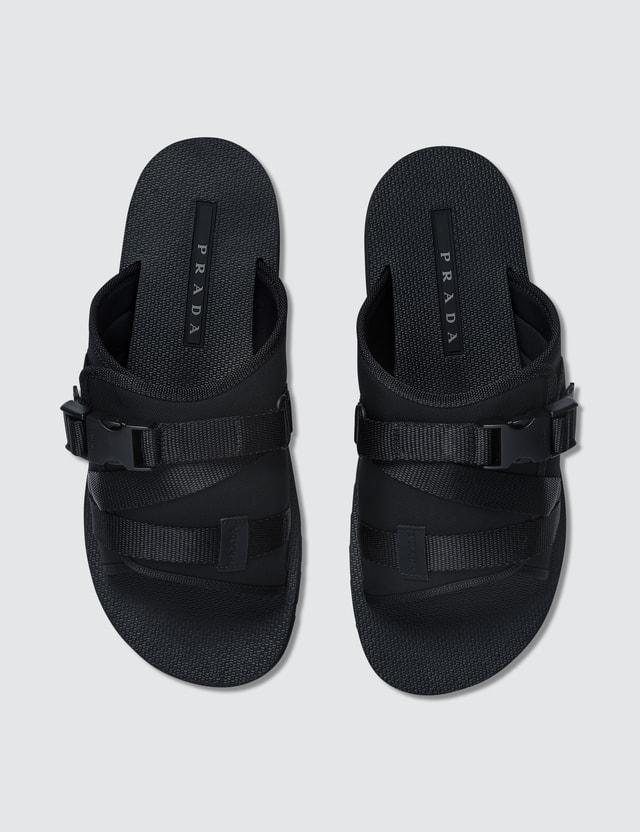 Prada Buckle-Strap Velcro Technical-Mesh Slides