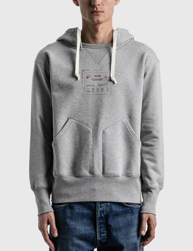 Maison Margiela Label Printed Hoodie Grey Melange Men