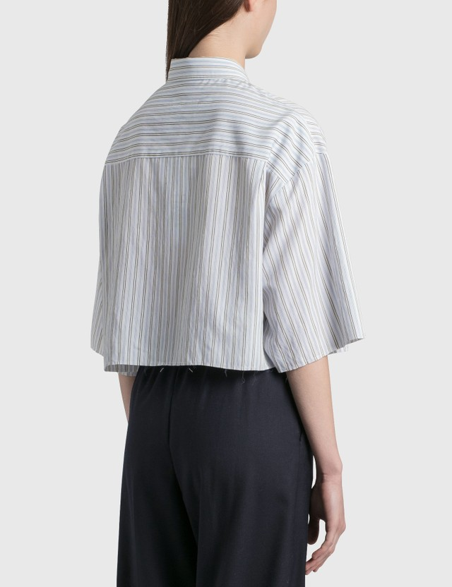 MM6 Maison Margiela Poplin Cotton Cropped Shirt White / Blue Stripes Women