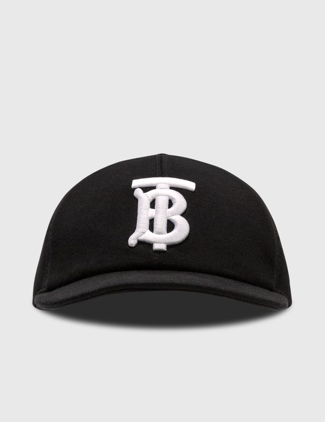 Burberry Monogram Motif Cotton Jersey Baseball Cap Black Men