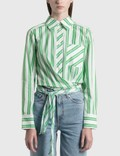 Ganni Stripe Cotton Wrap Shirt Picture