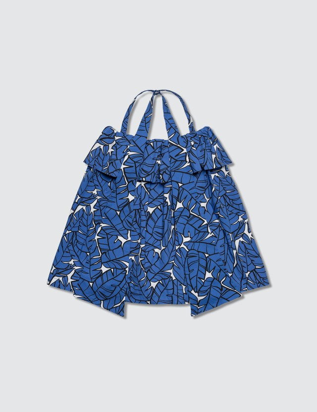 MSGM Leaf Printed Blouse Royal Girls