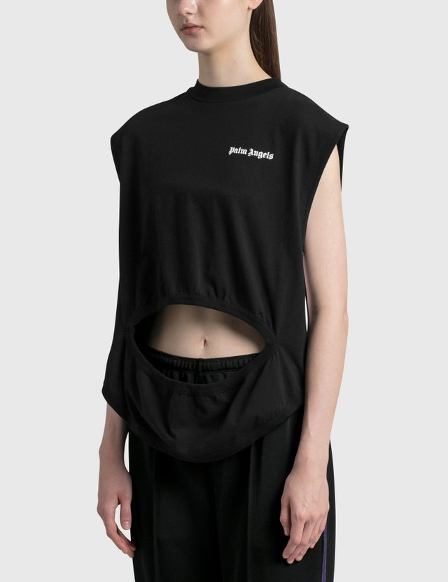 Palm Angels Logo Cut Out T-shirt Black Women