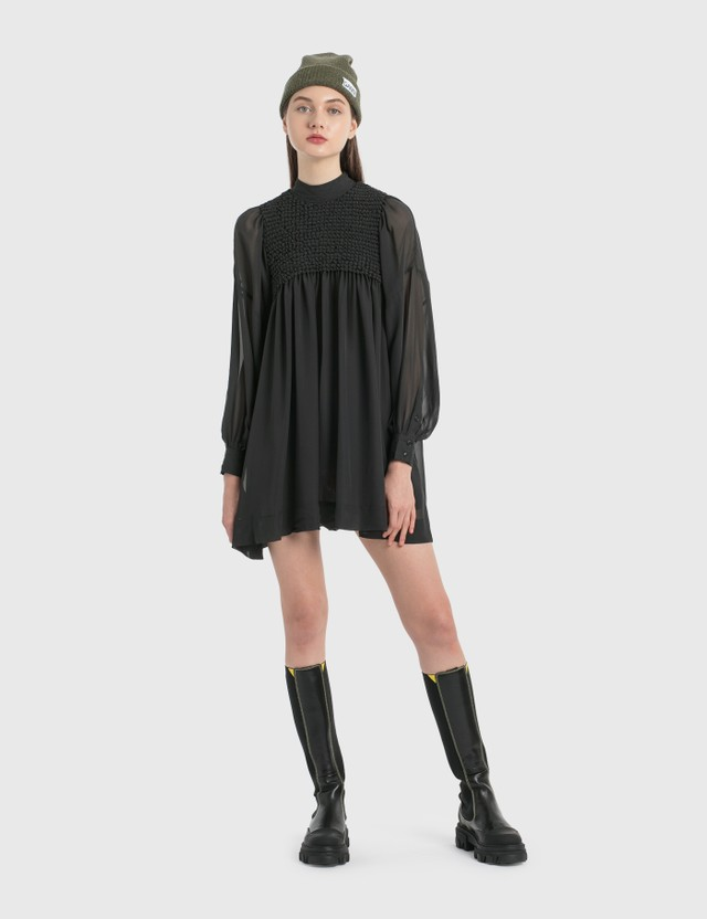 Ganni Smock Chiffon Dress Phantom Women