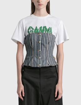 Ganni Mixed Stripe Denim Top