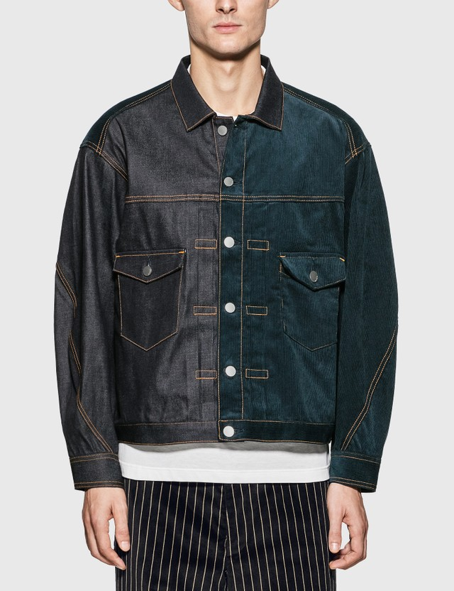 JieDa Switching Denim Jacket Indigo Men