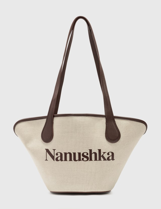 Nanushka Winged Juno Bonded Canvas Bag Natural Women