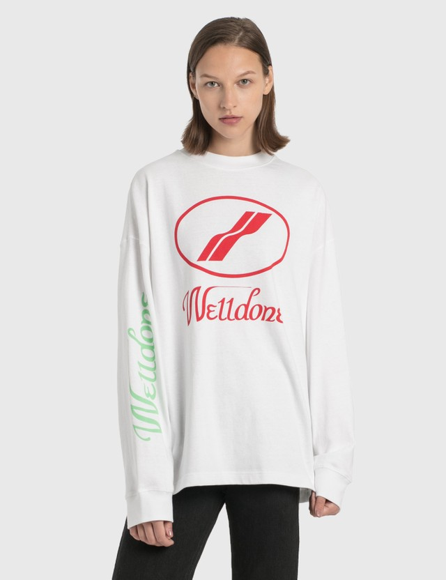 We11done We11done Print Logo Long Sleeve T-Shirt White Women