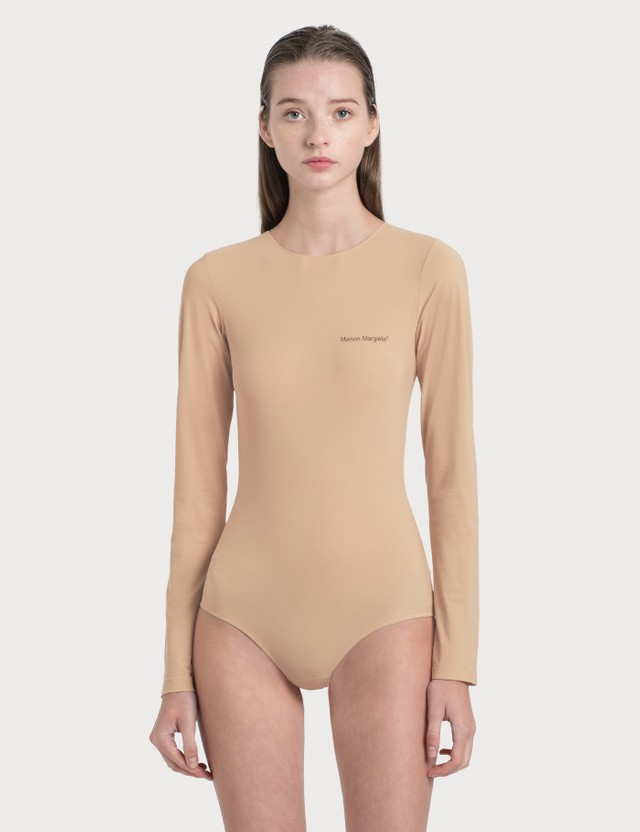 MM6 Maison Margiela Logo Bodysuit Nude Women
