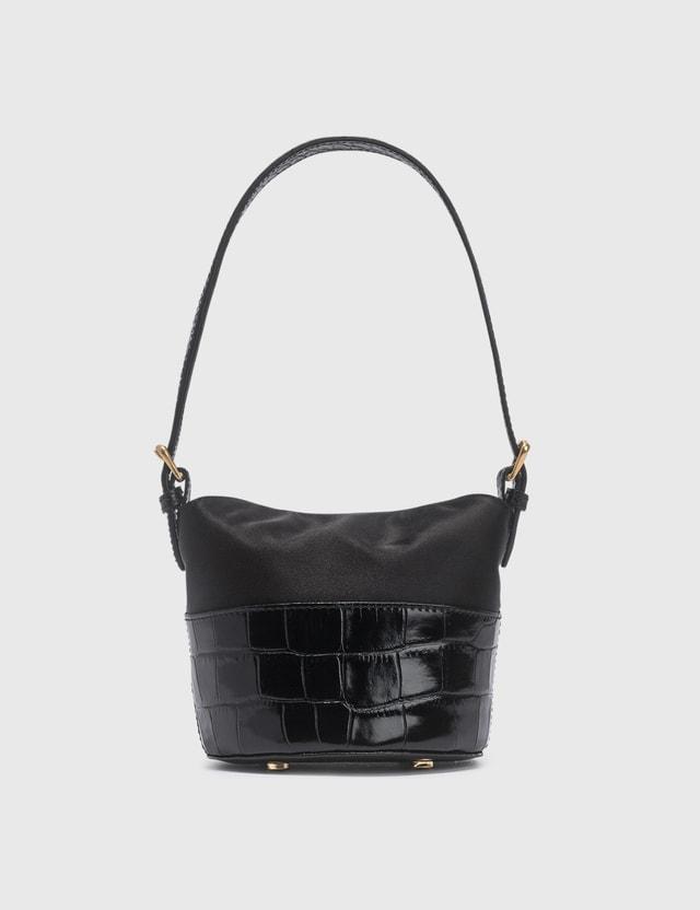 BY FAR Mini Jamie Black Croco Embossed Leather And Black Silk Top Handle Bag