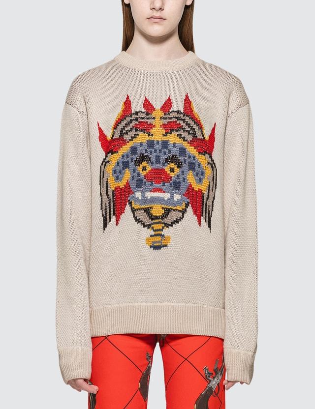 Kirin Haetae Jacquard Knitted Sweater Egret Mult Women