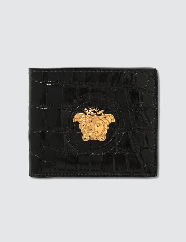 Versace Mock Croc Print Palazzo Bifold Wallet
