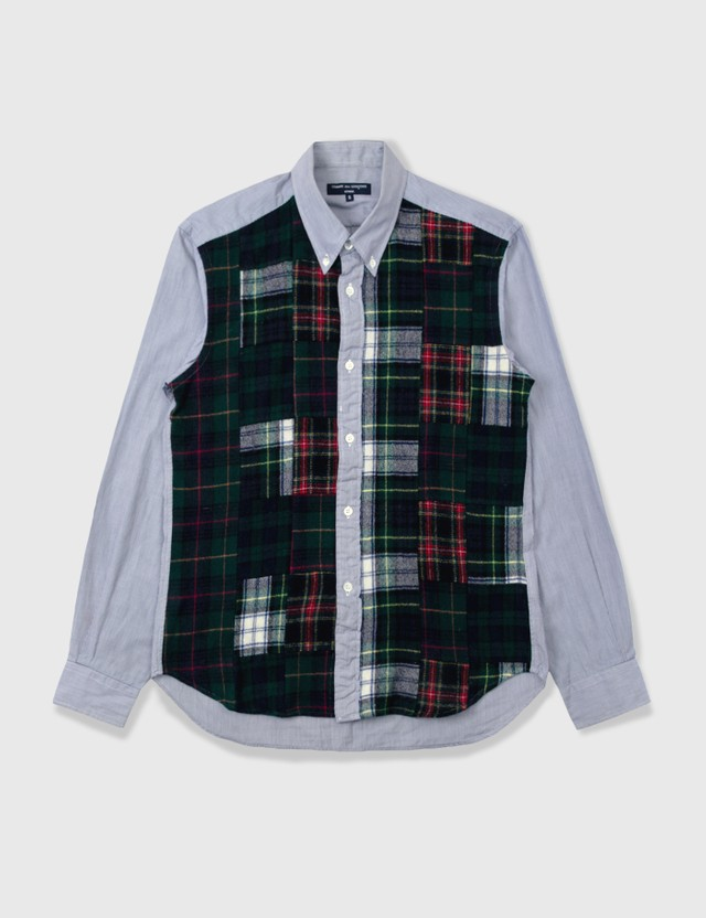 Comme des Garçons HOMME Comme Des Garçons Homme Wool Checked Stripe Shirt Blue Archives