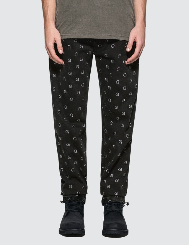 GEO Monogram Denim Pants Black Denim Men