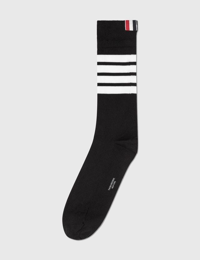 Thom Browne 4-Bar Mid Calf Socks Black Men
