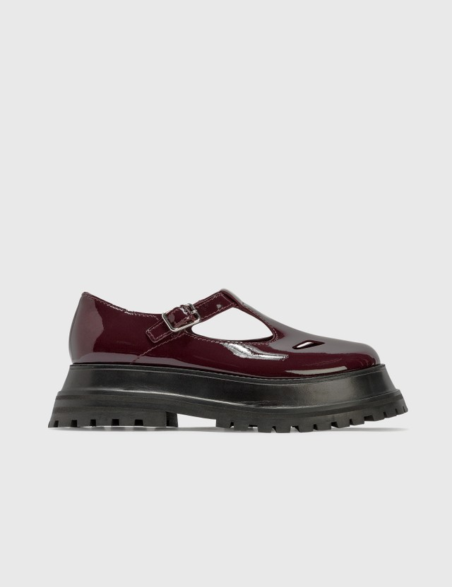 Burberry Patent Leather T-bar Shoes Oxblood Women
