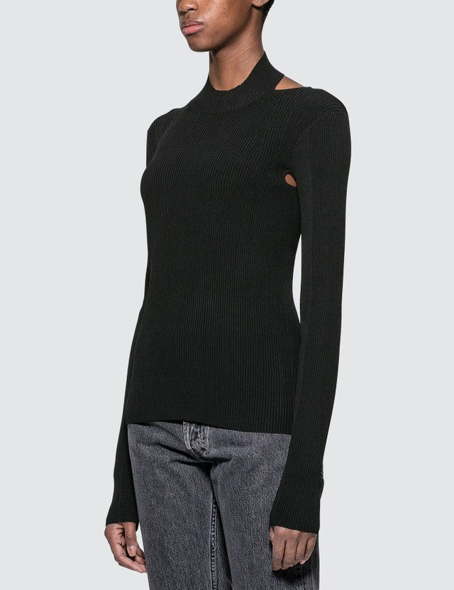 Helmut Lang Viscose Stretch Openback Pullover Black Women