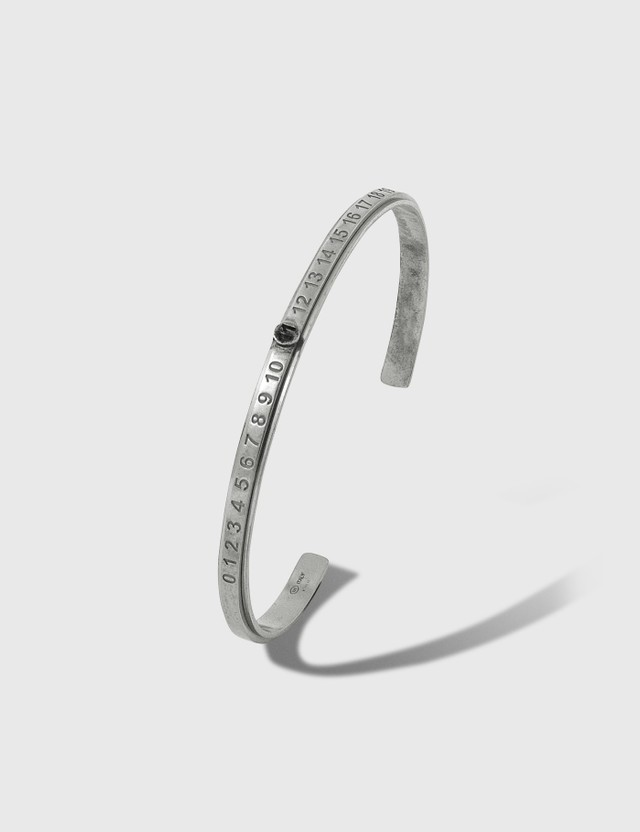 Maison Margiela Juxtaposed Slim Bangle 969 Silver Burattato + Rutenio Men