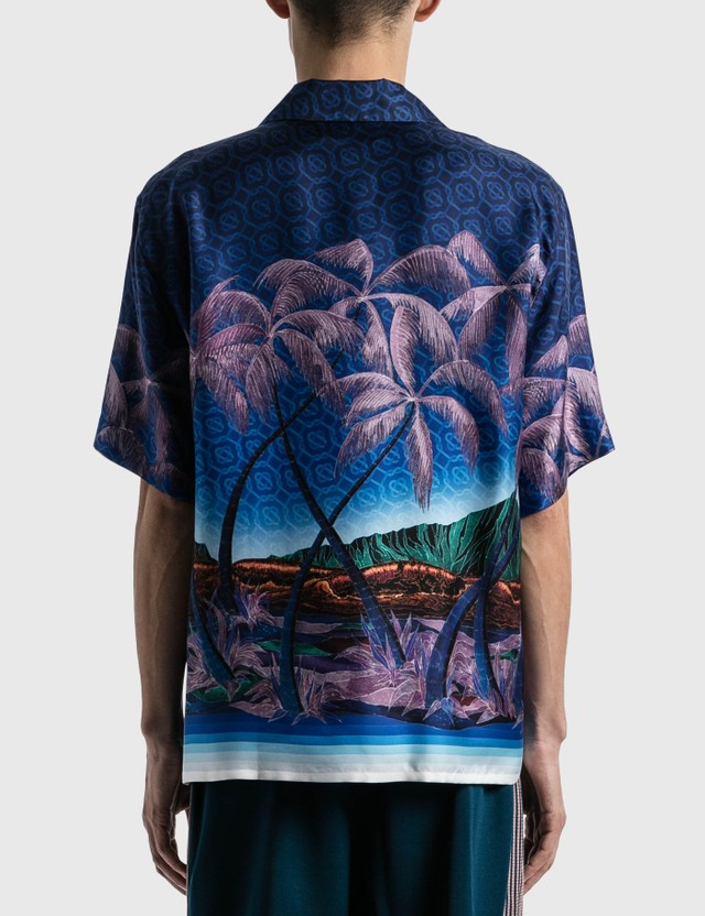 Casablanca Nuit A Maui Printed Silk Shirt Navy Men