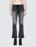 Unravel Project Potassium Flare Crop Lace Up Jean