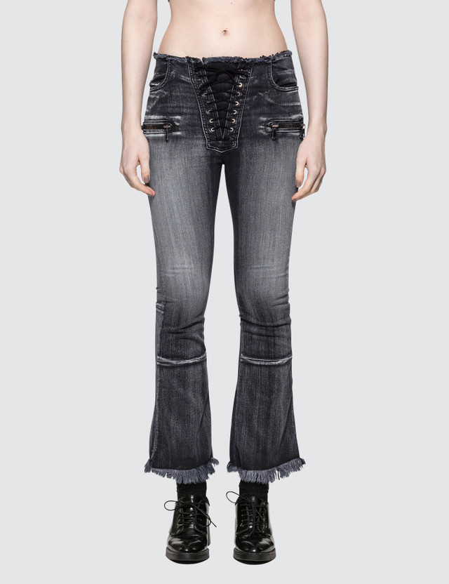 Unravel Project Potassium Flare Crop Lace Up Jean Black Women
