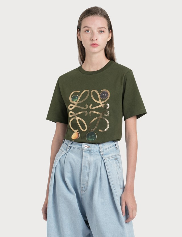 Loewe Anagram Brooch Print T-Shirt Khaki Green Women