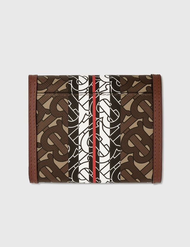 Burberry Small Monogram Stripe E-canvas Folding Wallet Bridle Brown Women